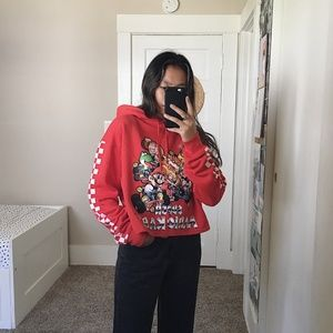 Red Super Mario Kart Cropped Checkered Hoodie